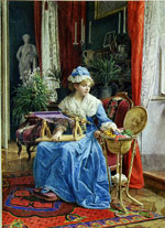 Donna con telaio - Tito Agujari
